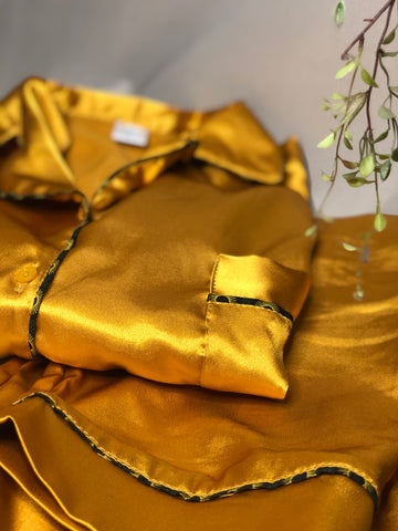 Mustard Satin Short PJ Set with Emerald Green Shweshwe Piping