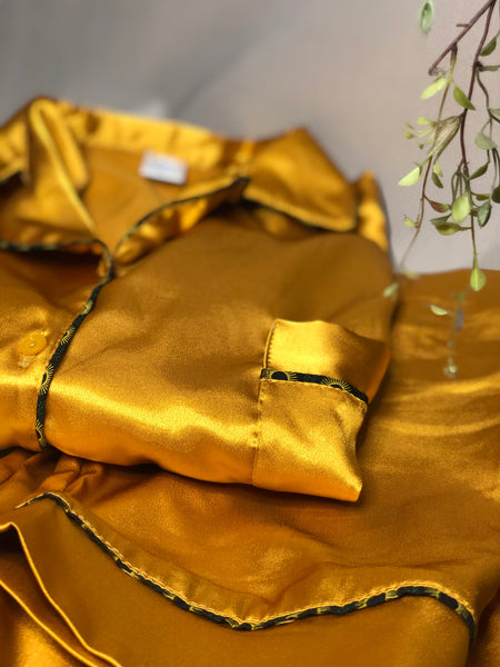 Mustard Satin Long PJ Set with Emerald Green ShweShwe lining