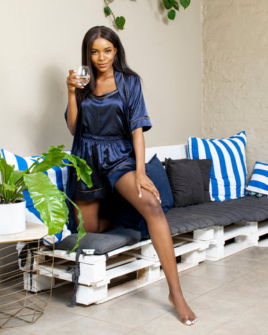 Navy Satin Short ShweShwe PJ Set