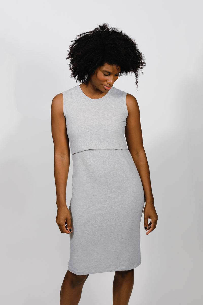 The Little Breastfeeding Dress - Heather Gray