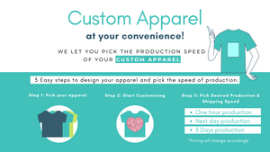 Custom apparel in one hour or at your convenience. Pick your desired speed of production of your custom apparel.