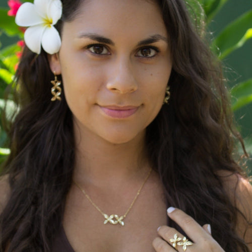 Frangipani Bua Set - 925 Sterling Silver or 18k Gold Vermeil FJD$ - Adorn Pacific