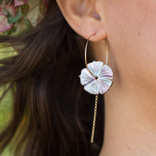 Fiji Hibiscus Shell Earrings - 14k Gold Filled FJD$ - Adorn Pacific - Fiji Jewelry