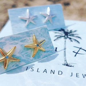 Mini Starfish Stud Earrings - 925 Sterling Silver or 18k Gold Vermeil FJD$ - Adorn Pacific