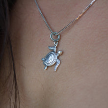 Load image into Gallery viewer, Tapa Turtle Charm Necklace - 925 Sterling Silver - Adorn Pacific - Fiji Jewelry