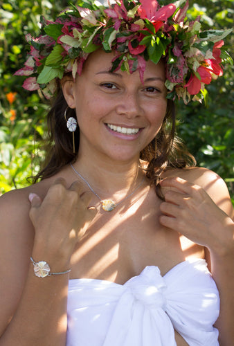 Hibiscus Flower set in 925 Sterling Silver or 14k Gold Filled - FJD$ - Adorn Pacific - Fiji Jewelry