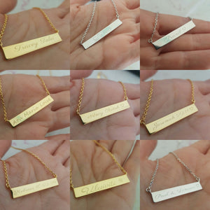 Custom Engraved Bar Name Necklace - 18k Gold Vermeil FJD$ - Adorn Pacific