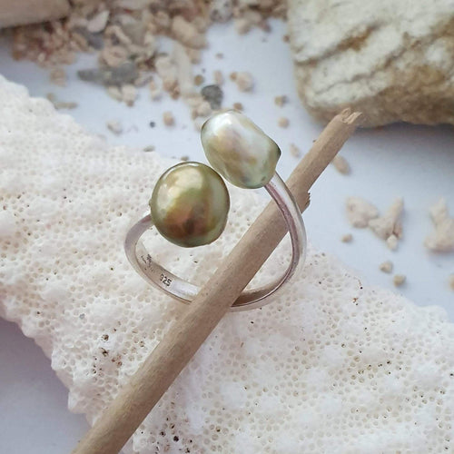 CUSTOM MADE - Fiji Pearl Twist Ring - 925 Sterling Silver FJD$ - Adorn Pacific - Fiji Jewelry - Made in Fiji