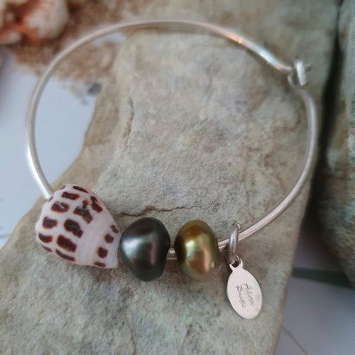 Fiji Pearl and Shell Bangle 925 Sterling Silver - FJD$ - Adorn Pacific - Fiji Jewelry
