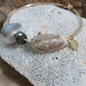 Fiji Pearl and Shell Bangle 14k Gold Filled - FJD$ - Adorn Pacific