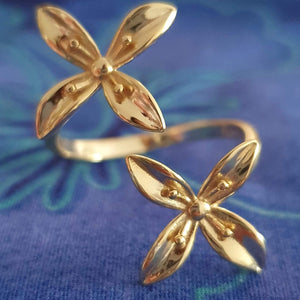 Frangipani Bua Ring - 925 Sterling Silver or 18k Gold Vermeil FJD$ - Adorn Pacific - Fiji Jewelry