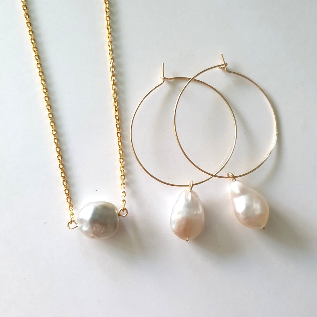 Fiji Salt Water Pearl Set - 14k Gold Filled FJD$ - Adorn Pacific - Fiji Jewelry - Made in Fiji