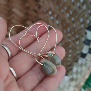 Heart Shell Hoop Earrings - 14k Gold Filled  FJD$ - Adorn Pacific - Fiji Jewelry