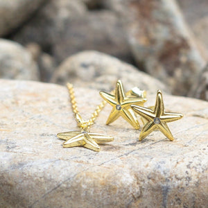 Mini Starfish Stud Earrings - 925 Sterling Silver or 18k Gold Vermeil FJD$ - Adorn Pacific - Fiji Jewelry