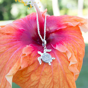 Tapa Turtle Charm Necklace - 925 Sterling Silver - Adorn Pacific
