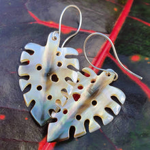 Load image into Gallery viewer, Monstera Carved Fiji Oyster Shell Earrings in 925 Sterling Silver - FJD$ - Adorn Pacific - Fiji Jewelry