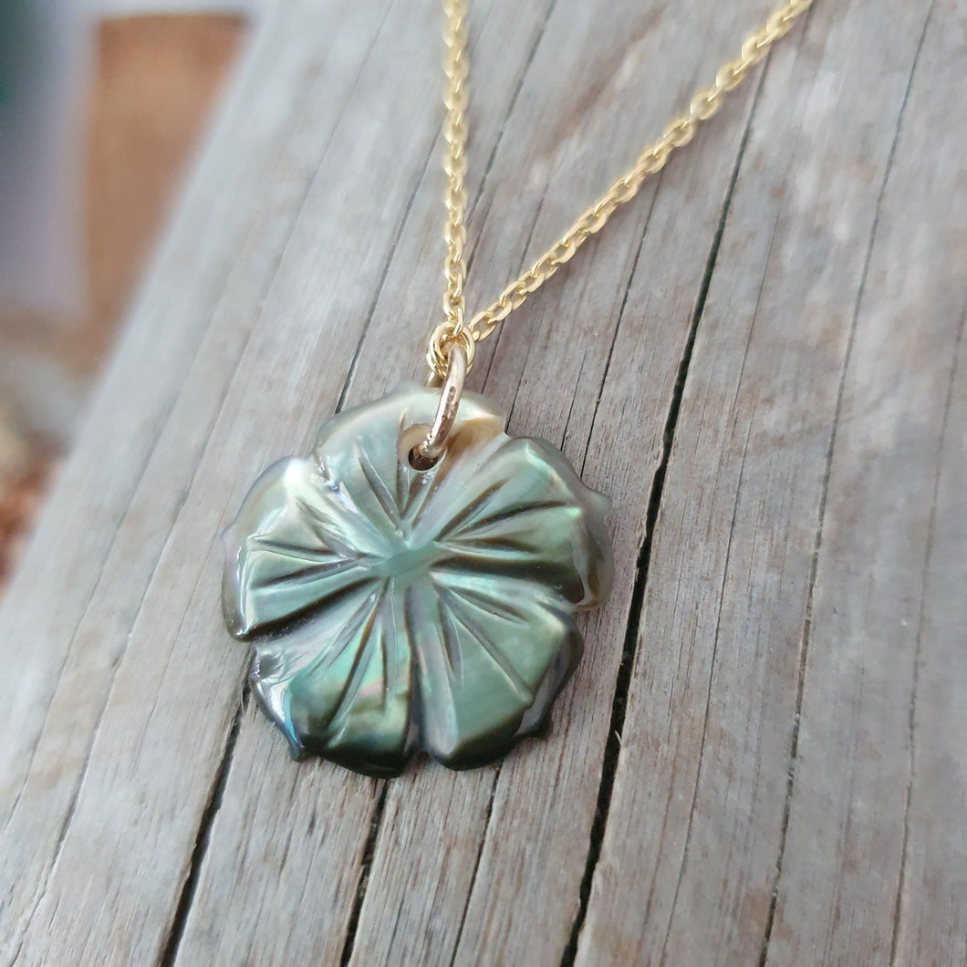 Fiji Mother of Pearl Hibiscus Necklace - 925 Sterling Silver or 18k Gold Vermeil FJD$ - Adorn Pacific