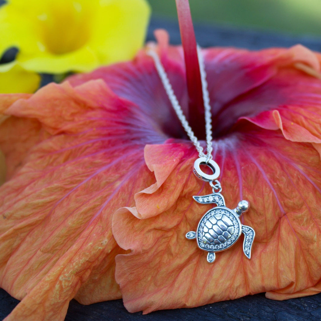 Tapa Turtle Charm Necklace - 925 Sterling Silver - Adorn Pacific - Fiji Jewelry
