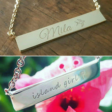Load image into Gallery viewer, Custom Engraved Bar Name Necklace - 925 Sterling Silver FJD$ - Adorn Pacific - Fiji Jewelry