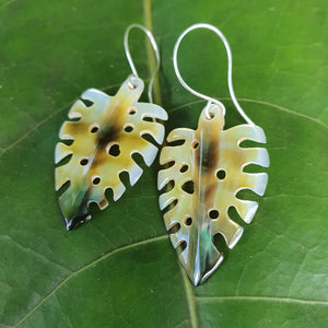 Monstera Carved Fiji Oyster Shell Earrings in 925 Sterling Silver - FJD$ - Adorn Pacific - Fiji Jewelry