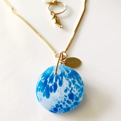 Adorn Pacific x Hot Glass Blue Speckled Round Necklace - FJD$ - Adorn Pacific - Fiji Jewelry