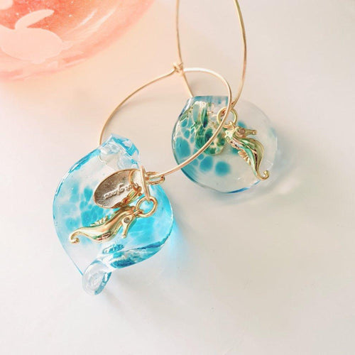 Adorn Pacific x Hot Glass Seahorse Wave Hoop Earrings - FJD$ - Adorn Pacific - Fiji Jewelry
