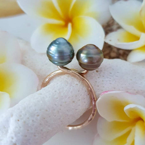Double Fiji Pearl Ring - 14k Gold Filled FJD$ - Adorn Pacific - Fiji Jewelry - Made in Fiji