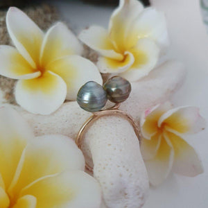 Double Fiji Pearl Ring - 14k Gold Filled FJD$ - Adorn Pacific - Fiji Jewelry