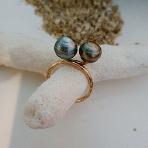 CUSTOM MADE - Double Fiji Saltwater Pearl Ring - 14k Gold Filled FJD$ - Adorn Pacific - Fiji Jewelry - Made in Fiji