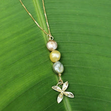 Load image into Gallery viewer, Fiji Pearl and Frangipani Bua Drop Necklace - 925 Sterling Silver FJD$ - Adorn Pacific - Fiji Jewelry