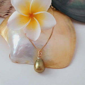 Fiji Saltwater Pearl Box Chain Necklace - 18k Gold Vermeil FJD$ - Adorn Pacific - Fiji Jewelry