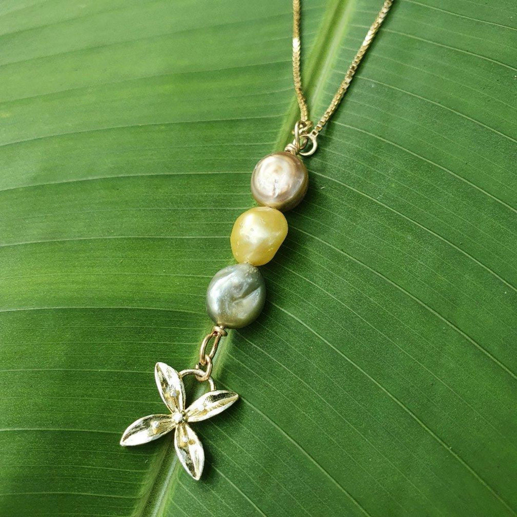 Fiji Pearl and Frangipani Bua Drop Necklace - 925 Sterling Silver FJD$ - Adorn Pacific - Fiji Jewelry