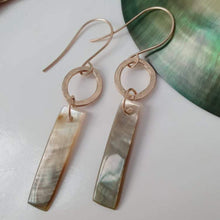Load image into Gallery viewer, Carved Mother of Pearl Drop Shell Earrings - 14k Gold Filled FJD$ - Adorn Pacific - Fiji Jewelry - Made in Fiji
