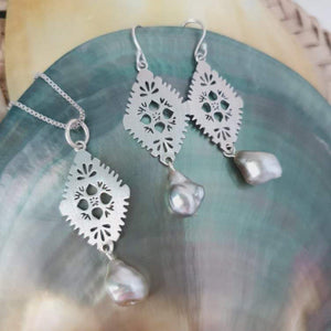 One-off Diamond Masi set with Fiji pearls - 925 Sterling Silver FJD$ - Adorn Pacific - Fiji Jewelry