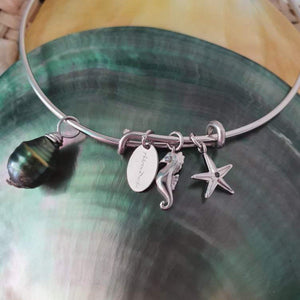 Saltwater Pearl and Charm Bangle - 925 Sterling Silver FJD$ - Adorn Pacific - Fiji Jewelry