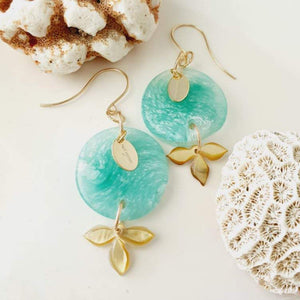 Adorn Pacific x Hot Glass Carved Flower Shell Earrings in 14k Gold Filled - FJD$ - Adorn Pacific - Fiji Jewelry