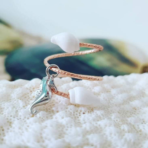 Textured Shell Ring with Charm- 14k Rose Gold Filled FJD$ - Adorn Pacific - Fiji Jewelry - Made in Fiji