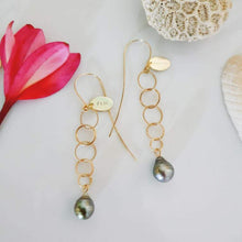 Load image into Gallery viewer, Tia's Saltwater Pearl Link Drop Earrings in 18k Gold Vermeil - FJD$ - Adorn Pacific - Fiji Jewelry