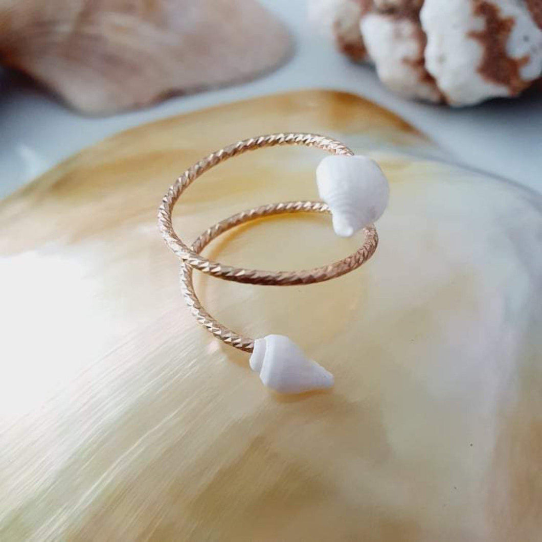 Textured Shell Ring - 14k Rose Gold Filled FJD$ - Adorn Pacific - Fiji Jewelry - Made in Fiji