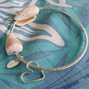 One-Off Heart & Shell Bangle - 925 Sterling Silver FJD$ - Adorn Pacific - Fiji Jewelry