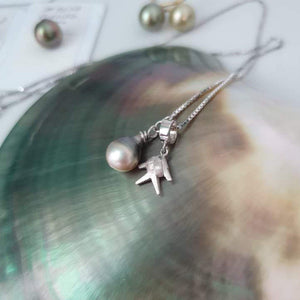 Voivoi Fish Charm & Fiji Pearl Necklace - 925 Sterling Silver FJD$ - Adorn Pacific - Fiji Jewelry