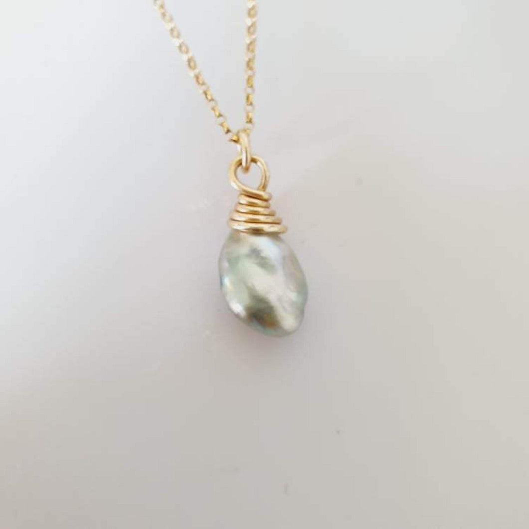 One-Off Fijian Saltwater Pearl Gold Wrapped Necklace - FJD$ - Adorn Pacific - Fiji Jewelry - Made in Fiji
