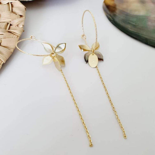 Sparkle Frangipani Shell Earrings with Chain Detail - 14k Gold Filled FJD$ - Adorn Pacific - Fiji Jewelry - Made in Fiji