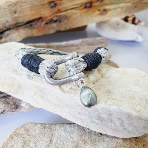 Made to Measure - Unisex Stainless Steel Bracelet with Saltwater Pearl - FJD$ - Adorn Pacific - Fiji Jewelry - Made in Fiji