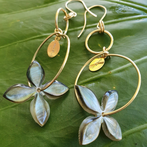 Carved Frangipani Shell Earrings - 14k Gold Filled FJD$ - Adorn Pacific - Fiji Jewelry