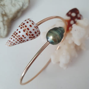Fiji Pearl and Shell Cuff - 925 Sterling Silver - FJD$ - Adorn Pacific - Fiji Jewelry