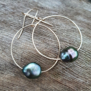 Hoop Earrings with Fiji Pearls - 14k Gold Filled FJD$ - Adorn Pacific - Fiji Jewelry