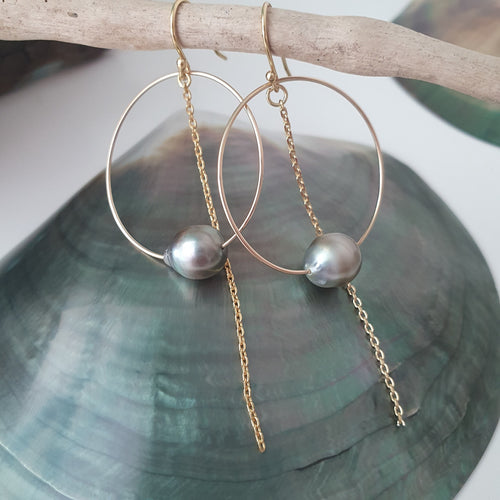 Hoop Earrings with Fiji Pearls and Chain - 14k Gold Filled FJD$ - Adorn Pacific