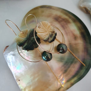 Hoop Earrings with Fiji Pearls, Hibiscus and Chain - 14k Gold Filled FJD$ - Adorn Pacific