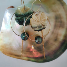 Load image into Gallery viewer, Hoop Earrings with Fiji Pearls, Hibiscus and Chain - 14k Gold Filled FJD$ - Adorn Pacific